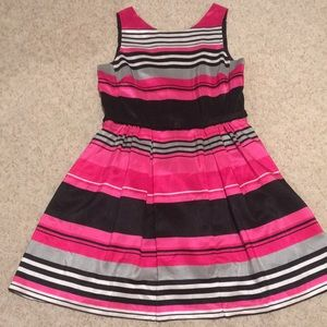 Plus 14 Dressbarn Bright Pink Striped Dress